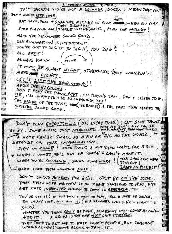 Handwritten Thelonious Monk Notes